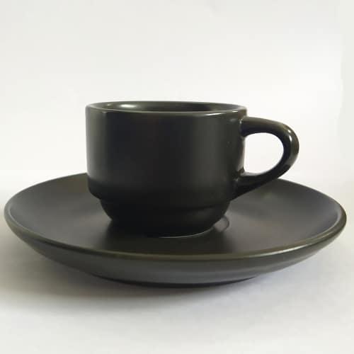 Φλυτζάνι Εspresso με Πιάτο Μαύρο Ματ 60cc